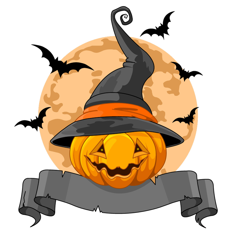 Pumpkin Wizard Hat Ribbon Vector