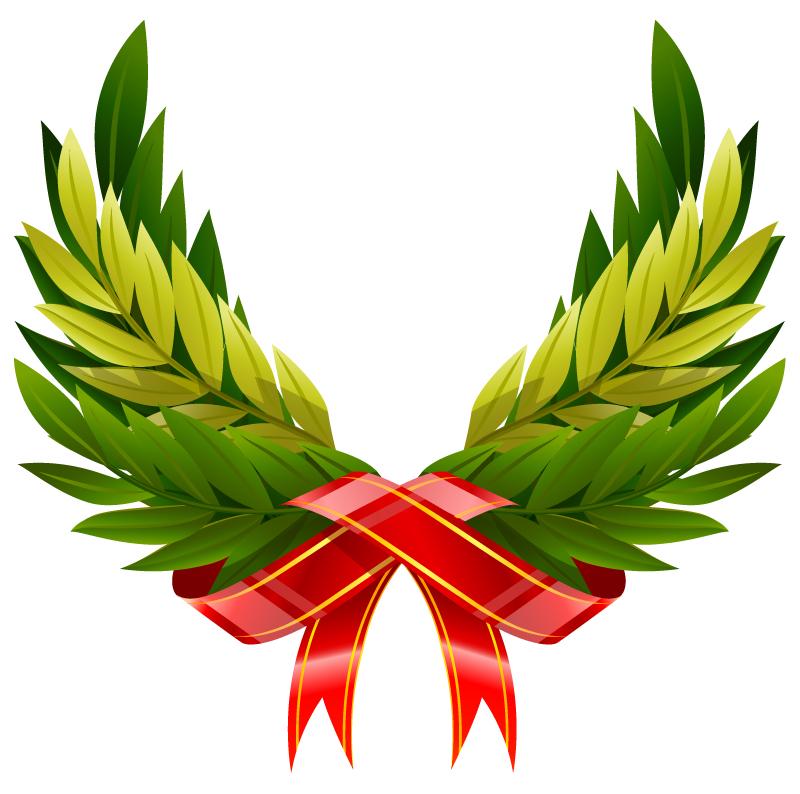 Ribbon Leaves Wings Vector