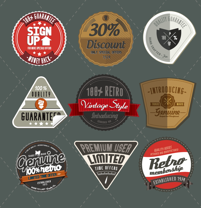 Vintage Web Badges and Ribbons Vector