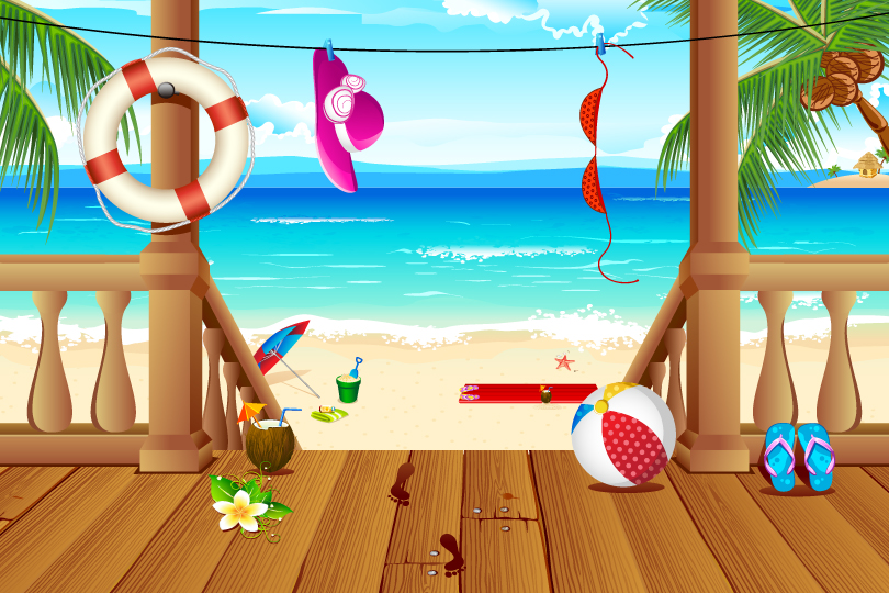 Beach Holiday illustrator Vector
