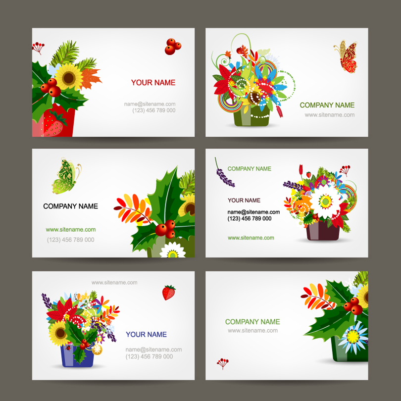Beautiful Flowers Business Card Vector