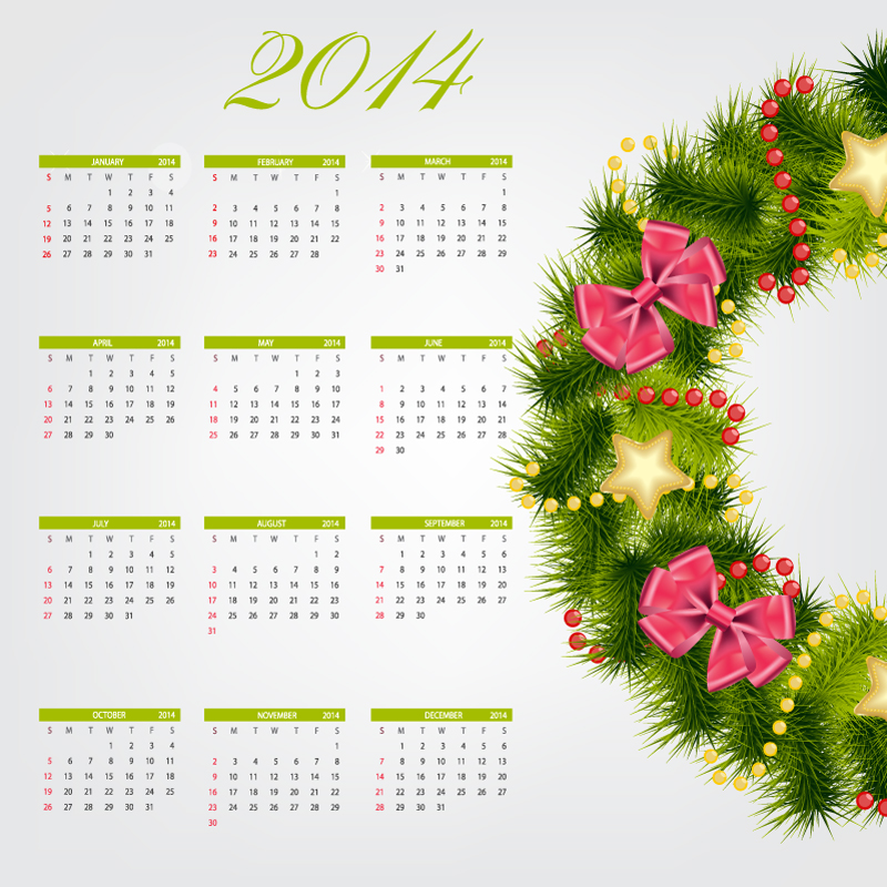 Calendar 2014 Christmas Wreath Vector