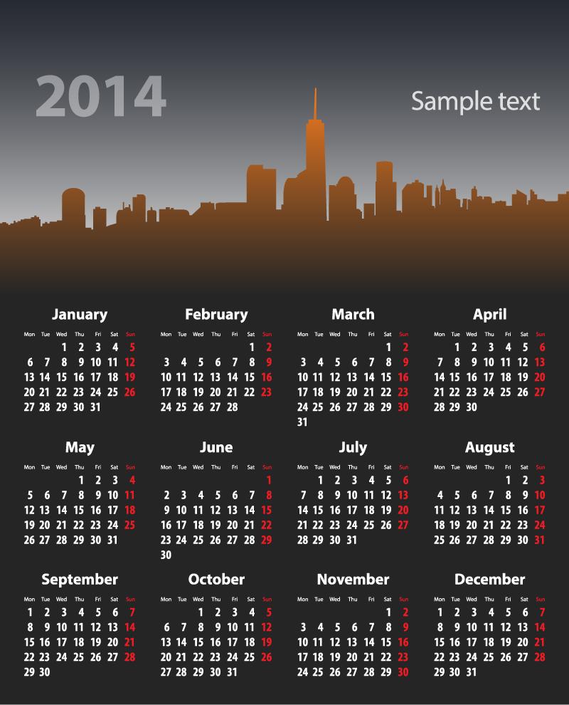 Calendar 2014 City Silhouette Vector