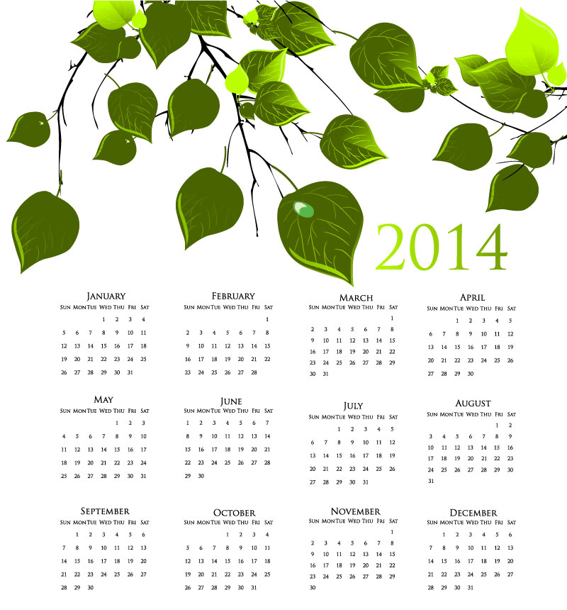 Calendar 2014 Fine Branches Vector