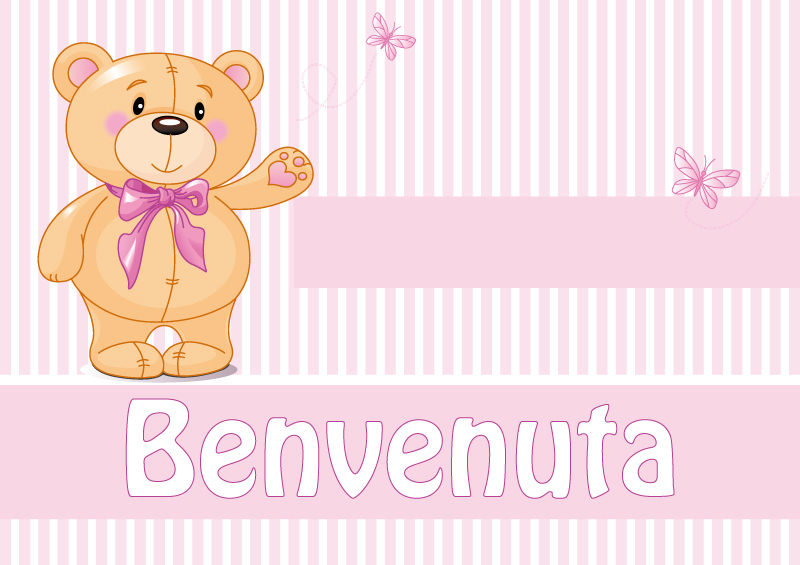 Cartoon Bear Striped Background Vector