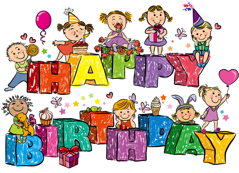 Cartoon Birthday WordArt Vector