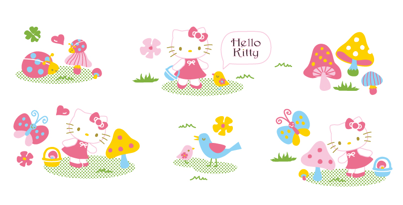 Cartoon Hello Kitty Mushrooms Vector