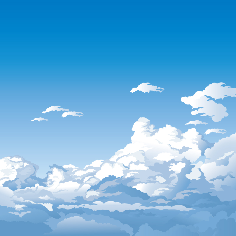 Cartoon High Clouds Landscape Vector