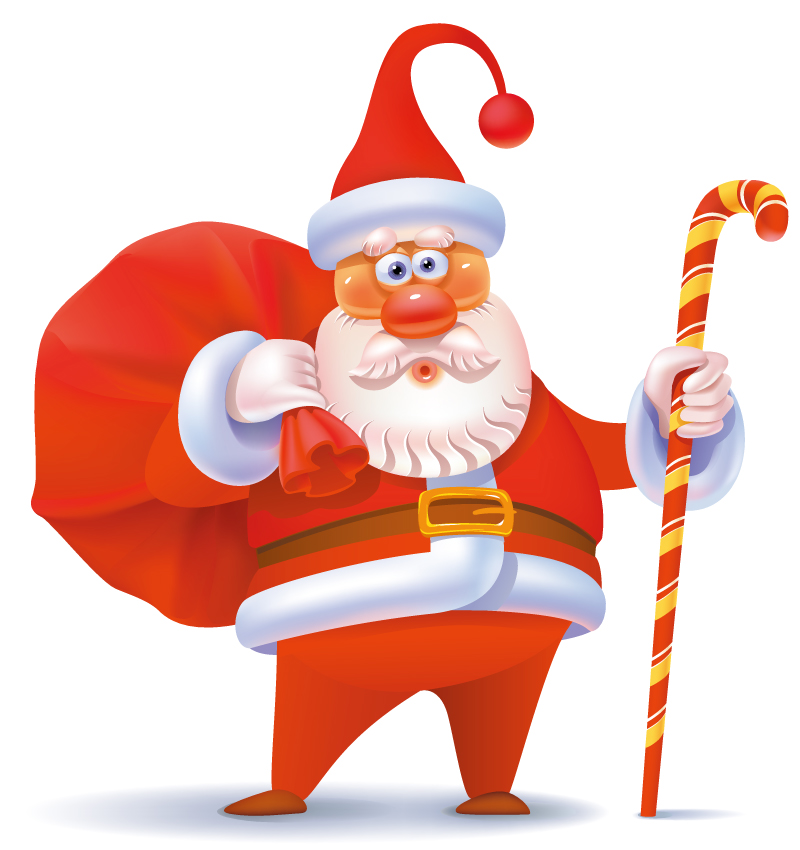 Cartoon Red Nose Santa Claus Vector