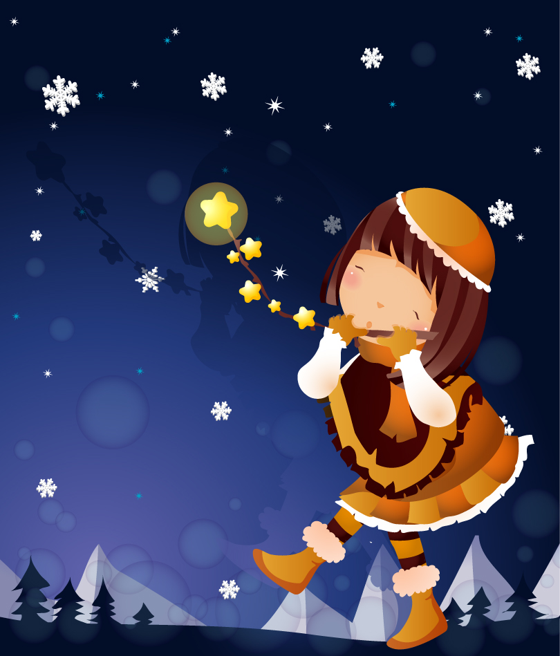 Cartoon Snowy Night Girl Vector