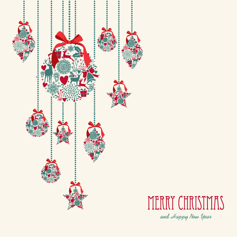 Christmas Elements Ball Ribbon Vector
