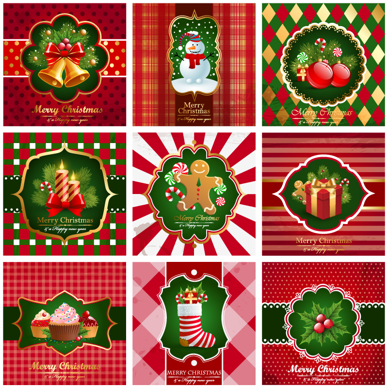 Christmas Elements Greeting Card Vector