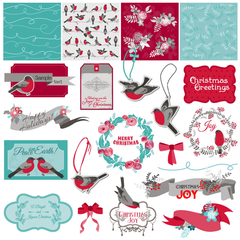 Christmas Greetings Joy Peace on Earth Vector