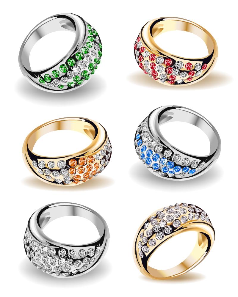 Color Diamond Ring Design Vector