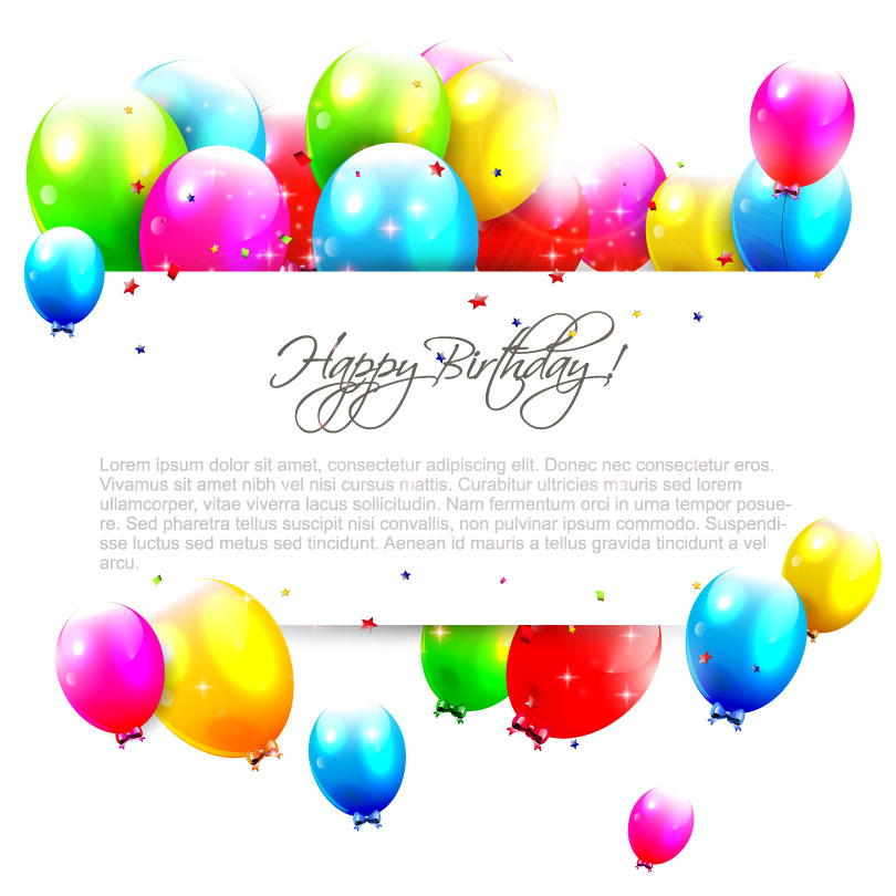 Colored Balloons Happy Birthday Vector