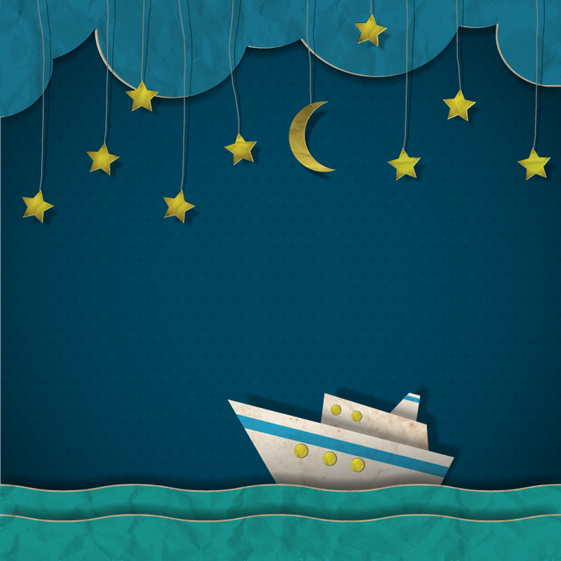 Creative Sailing at Night Clip Art Vector