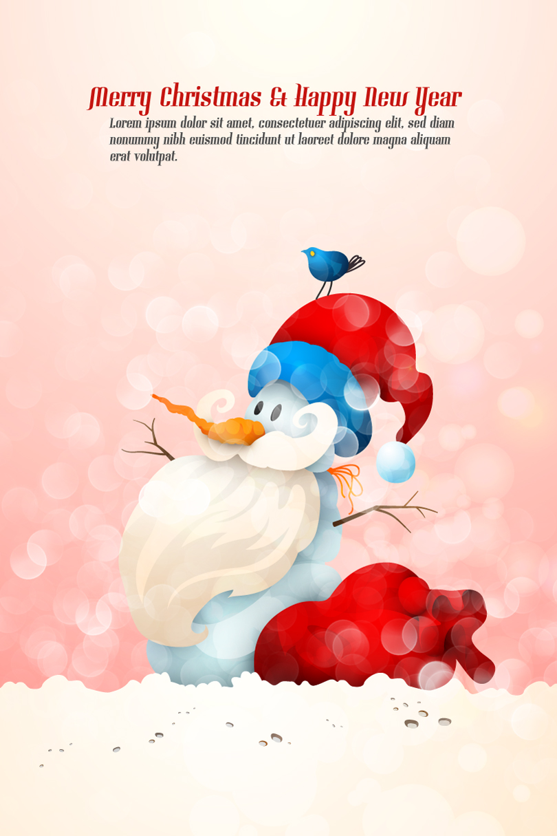 Cute Snowman Santa Claus illustration Vector