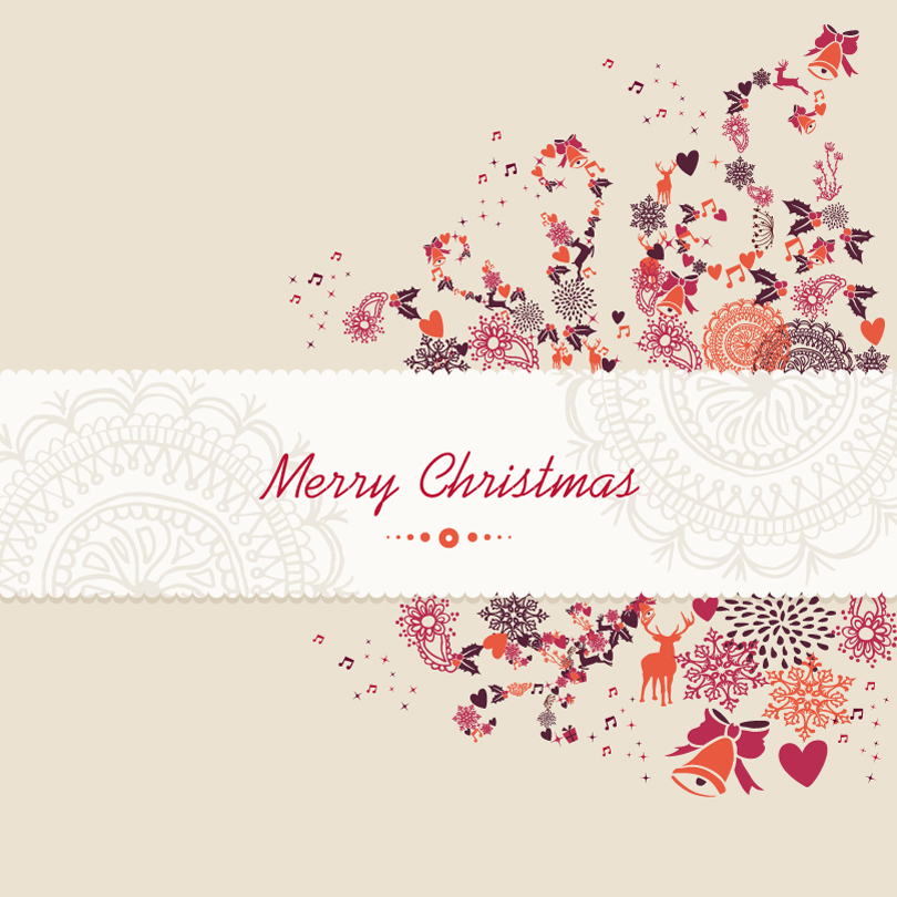 Exquisite Pattern Christmas Card Vector