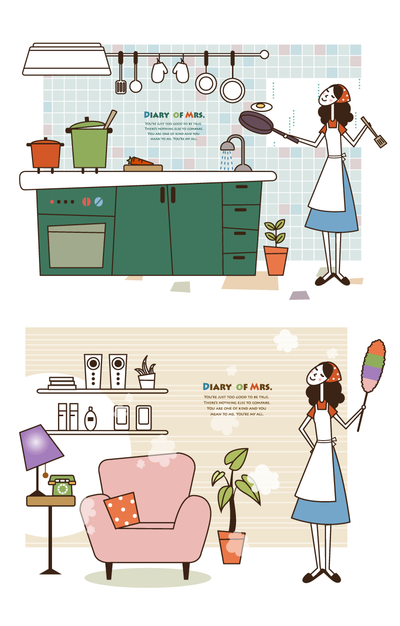 Fresh Housewives illustrator Vector
