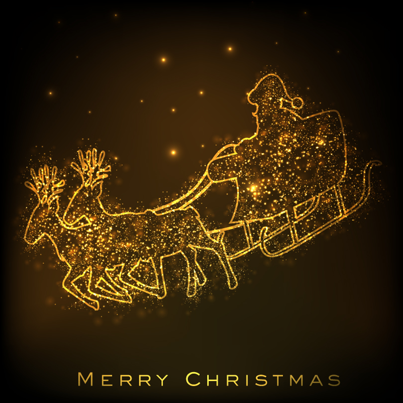 Golden Christmas Carriage illustrator Vector