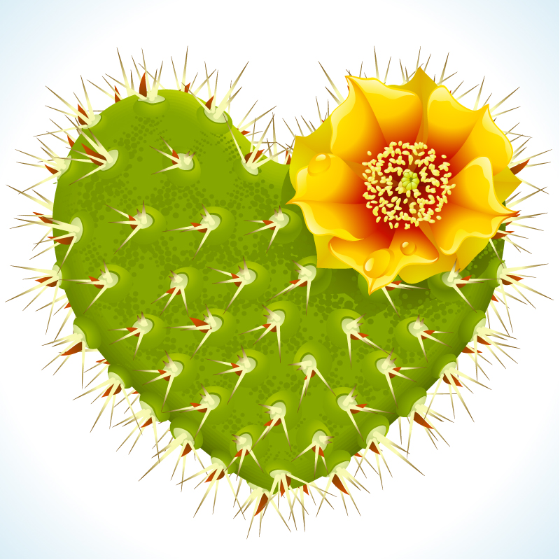 Green Flowering Cactus Heart-shaped Vector