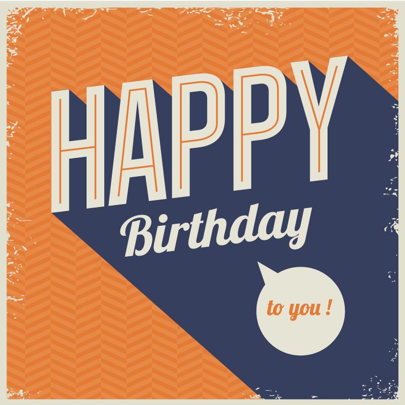 Happy Birthday Retro Mottled Vector