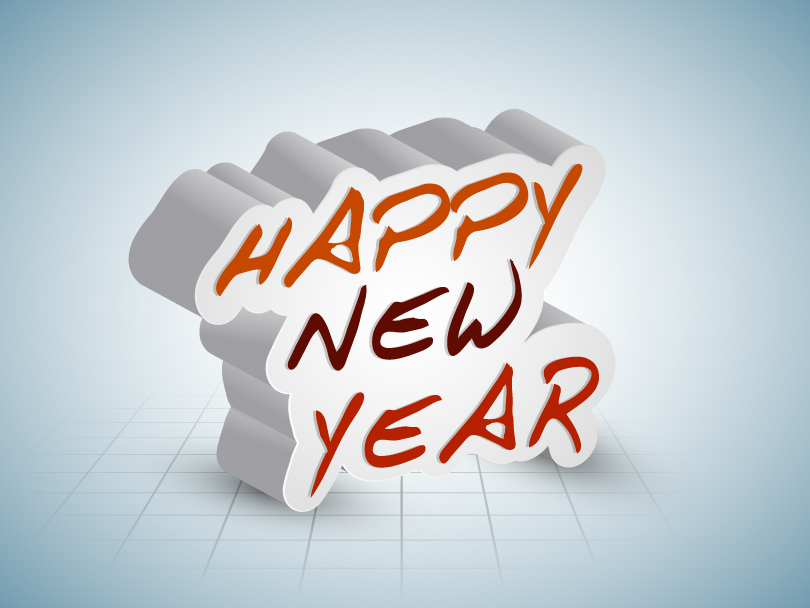 Happy New Year 2014 3D Shadow Vector