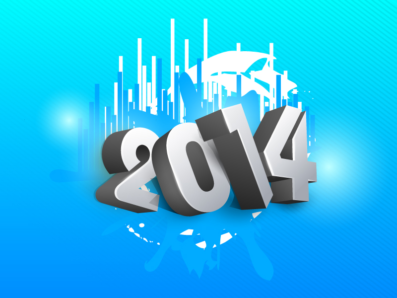 Happy New Year 2014 3D Text Vector