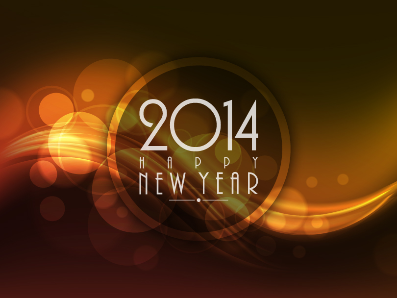 Happy New Year 2014 Brown Circle Vector