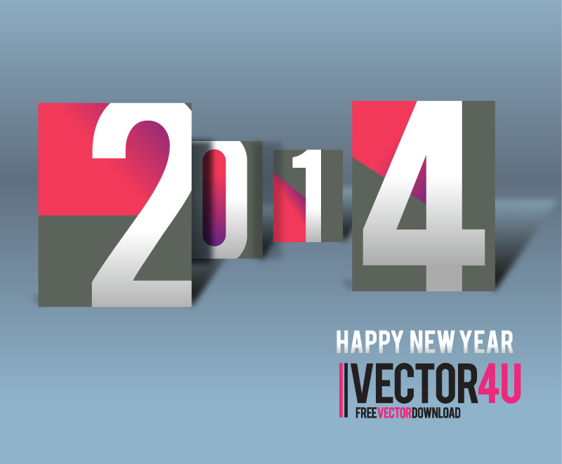 Happy New Year 2014 Card Text Vector