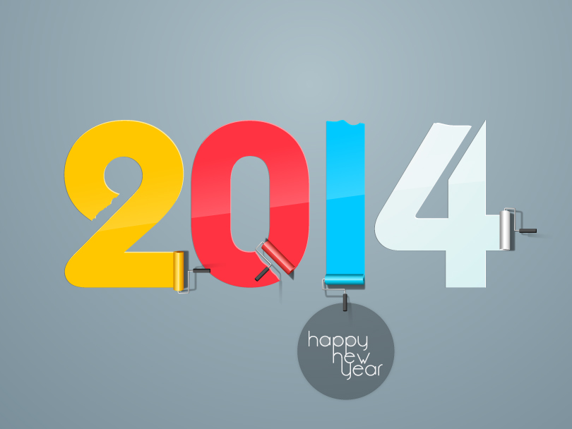 Happy New Year 2014 Color Paint Vector