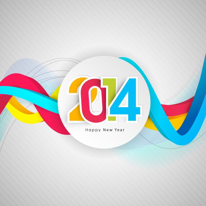 Happy New Year 2014 Colorful Curve Vector