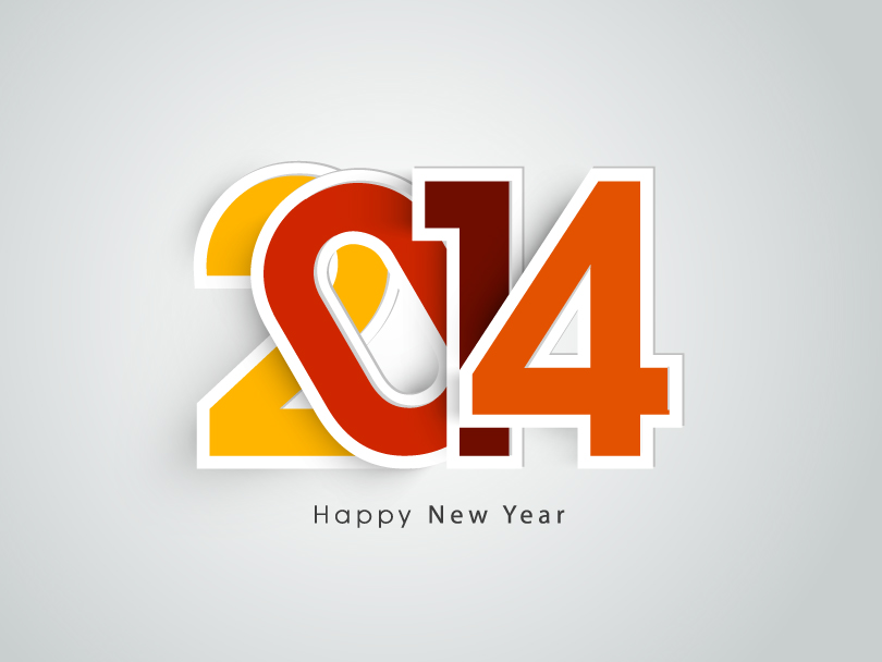 Happy New Year 2014 Compact Font Vector