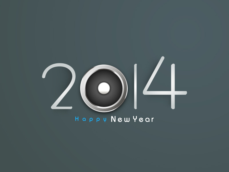 Happy New Year 2014 Metal Eye Vector