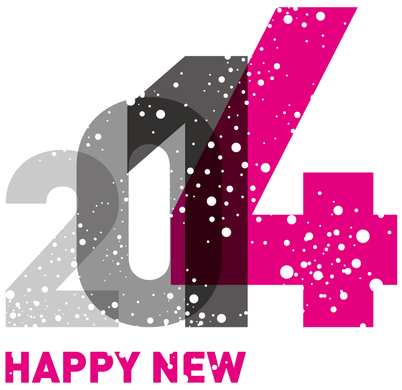 Happy New Year 2014 Mottled Fonts Vector
