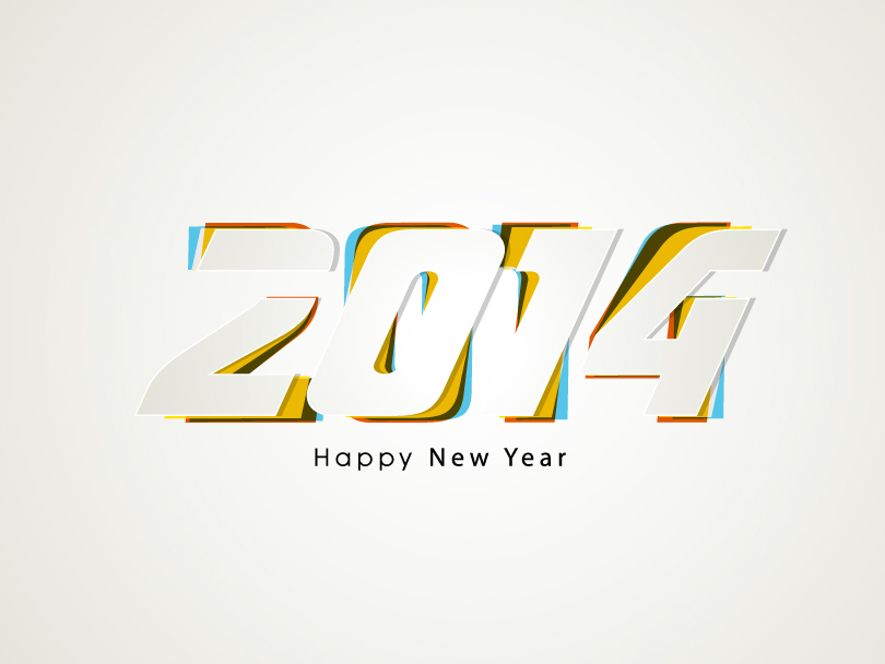 Happy New Year 2014 Overlapping Design Vector