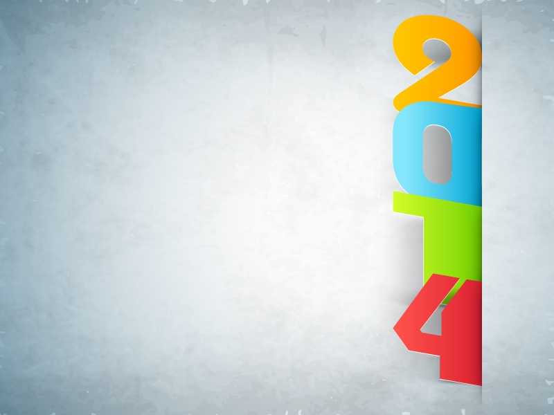 Happy New Year 2014 Paper Cut Background Vector