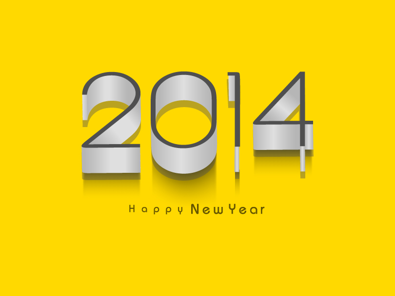 Happy New Year 2014 Pipe Text Vector