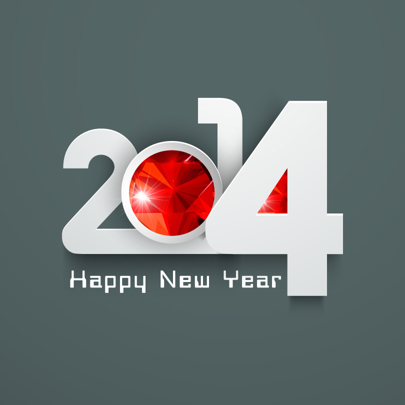Happy New Year 2014 Red Cloth Vector