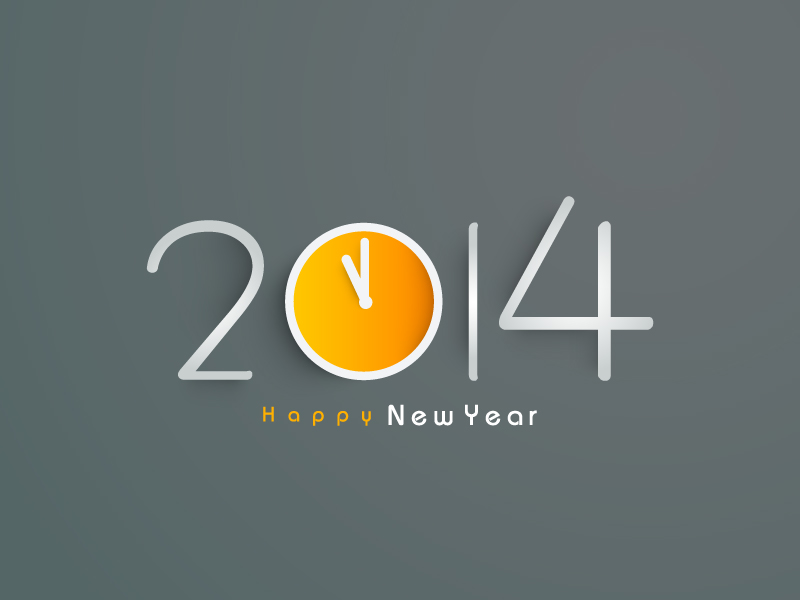 Happy New Year 2014 Simple Clock Vector