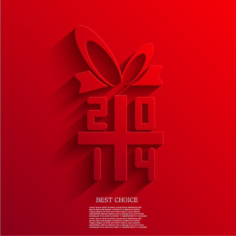Happy New Year 2014 Simple Red Bow Vector
