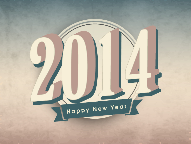 Happy New Year 2014 Vintage Background Vector