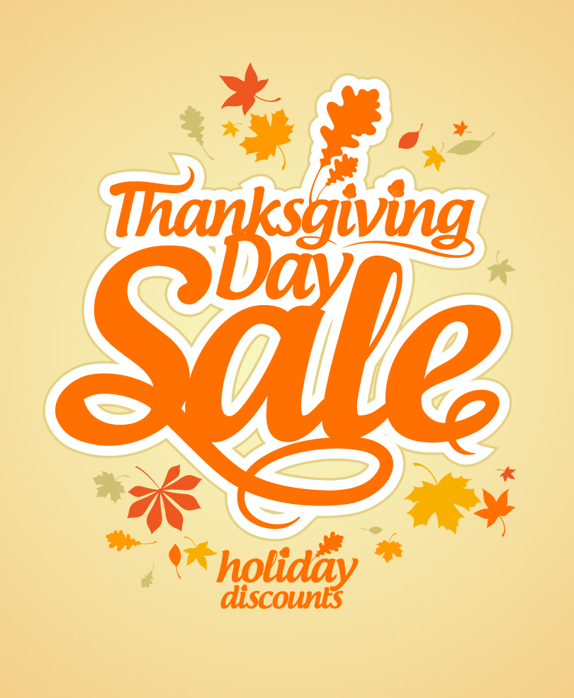 Happy Thanksgiving Day Holiday Discounts Vector