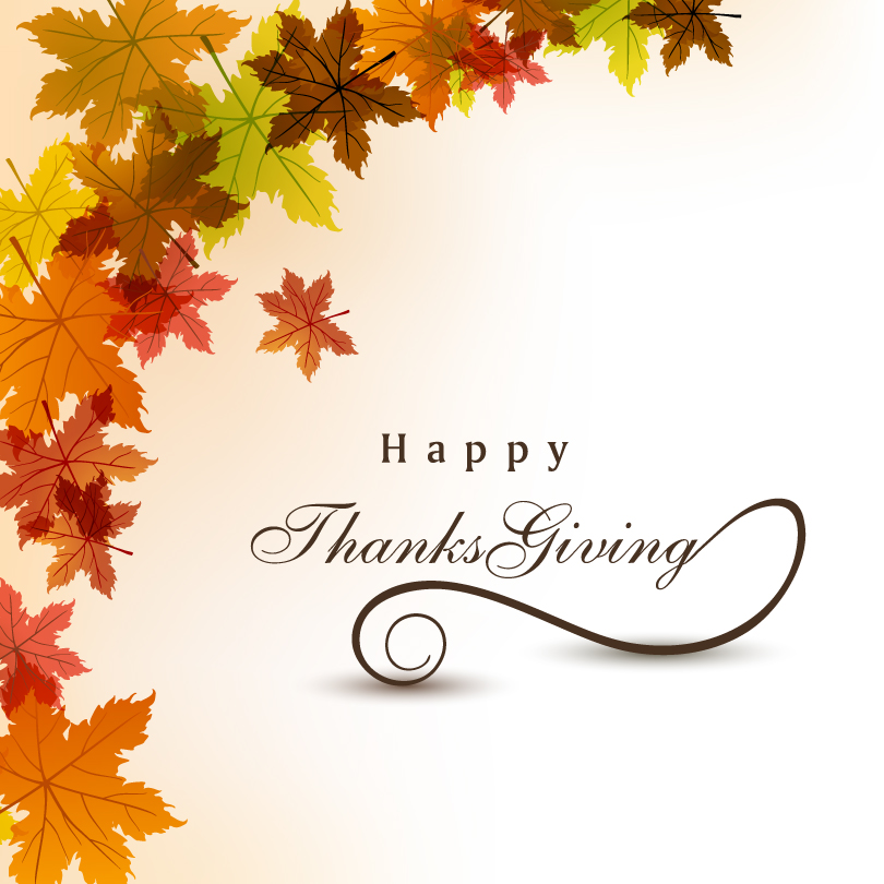 Happy Thanksgiving Day Leaves Background Vector
