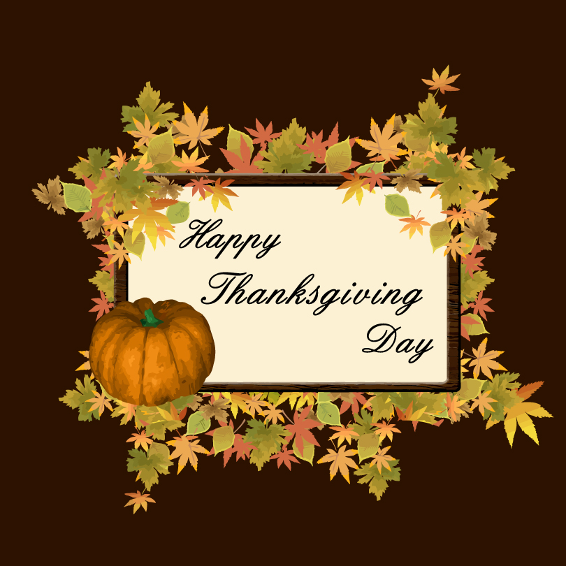 Happy Thanksgiving Day Pumpkin Leaves Vector