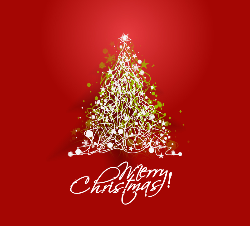 Line Christmas Tree Background Design Vector