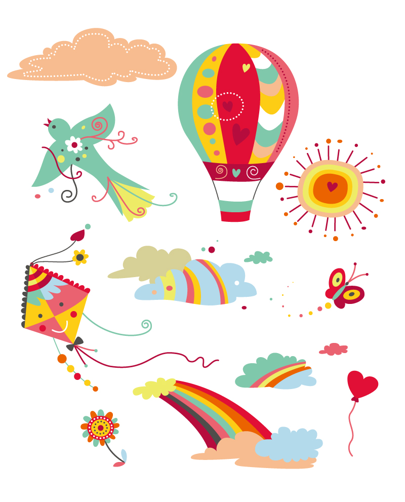 Lovely Cartoon Holiday Elements Vector