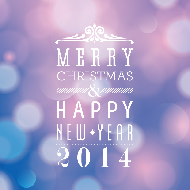 Merry Christmas and Happy New Year 2014 Font Design Vector