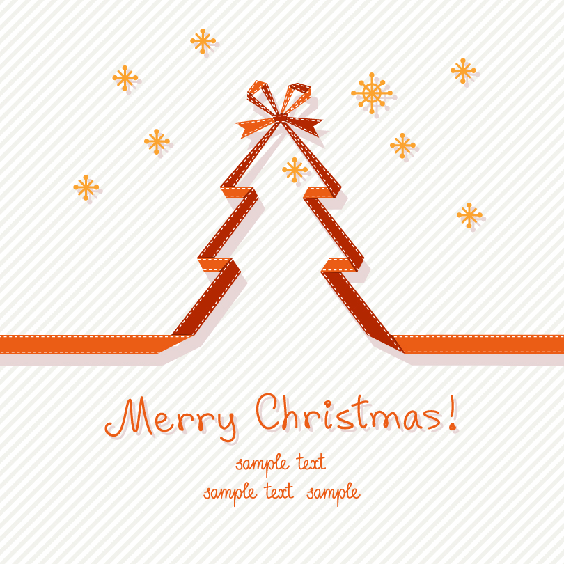 Orange Ribbon Christmas Tree Vector
