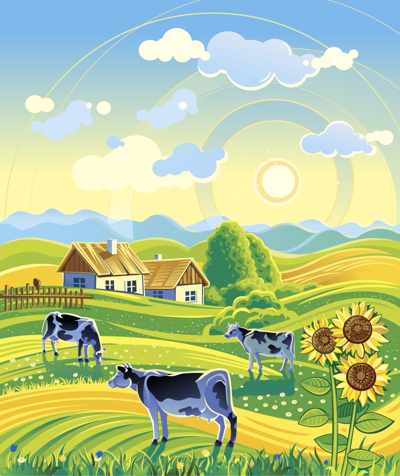 Pastoral Countryside Illustrator Vector